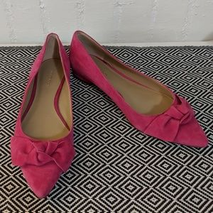 Ann Taylor Pink Suede Bow Flats Size 6